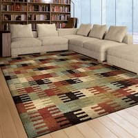 Carolina Weavers American Tradition Collection United Shapes Multi Area Rug - 5'3 x 7'6