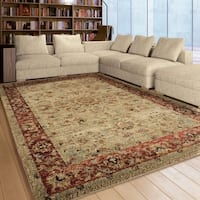 Copper Grove Gouraud Border Beige/ Red Plush Rug By - 5'3 x 7'6