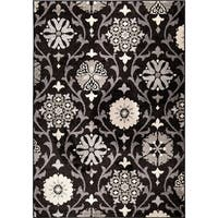 "Carolina Weavers Floral Indio Black Area Rug - 7'10"" x 10'10"""