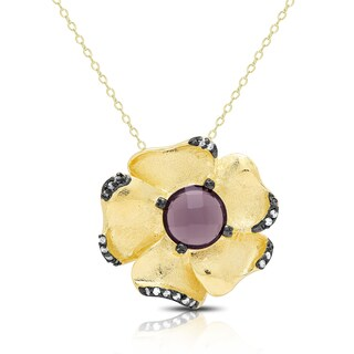 Samantha Stone Gold Over Silver Cubic Zirconia and Simulated Amethyst Flower Necklace