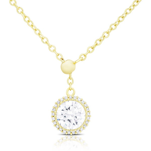 Dolce Giavonna Gold Over Silver or Sterling Silver Cubic Zirconia Circle Adjustable Necklace. Opens flyout.