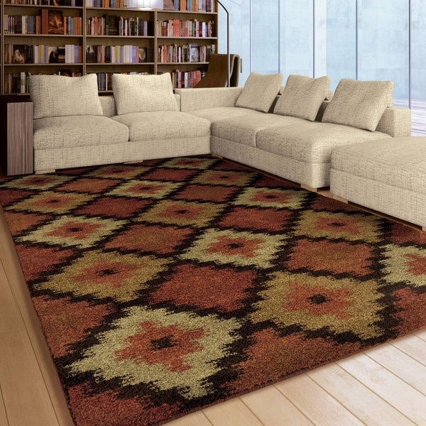 "Carolina Weavers American Tradition Collection Santa Fe Diamonds Multi Area Rug - 7'10"" x 10'10"""