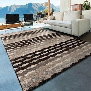 Carolina Weavers Stripes Wabash Grey Area Rug (7'10 x 10'10)
