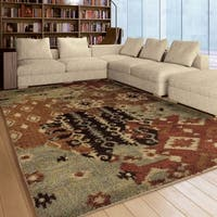 """Carolina Weavers American Tradition Collection Aztec Patchwork Multi Area Rug (7'10 x 10'10) - 7'10"""" x 10'10"""""""