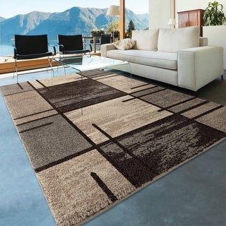 "Carolina Weavers Blocks Juke Grey Area Rug (5'3"" x 7'6"")"