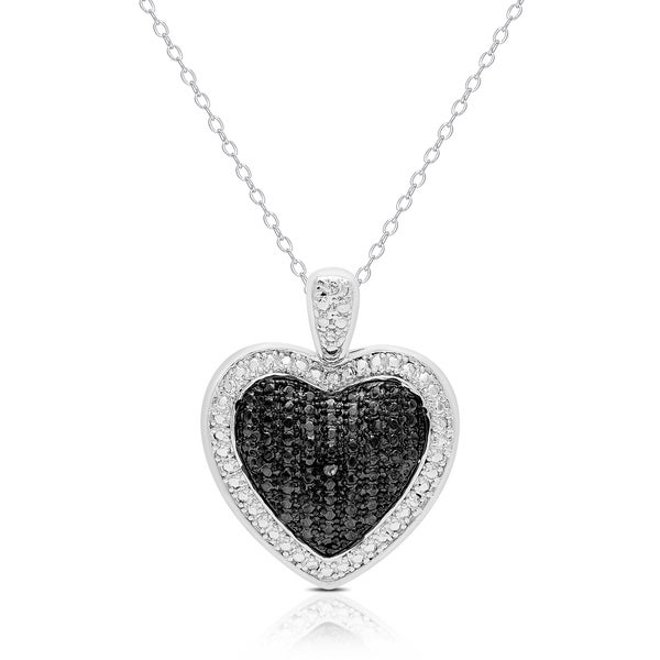 Finesque Silver Overlay Black Diamond Accent Heart Necklace