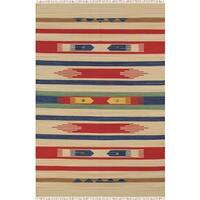 Reversible Anatolian Kilim Hand Woven Cotton Rug (5' x 8') - 5'x 8'