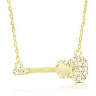 Dolce Giavonna Gold Over Silver Cubic Zirconia Guitar Necklace