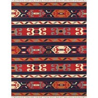 Reversible Anatolian Kilim Hand Woven Cotton Rug - Multi - 4' x 6'