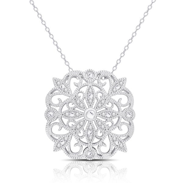 Finesque Silver Overlay Diamond Accent Necklace