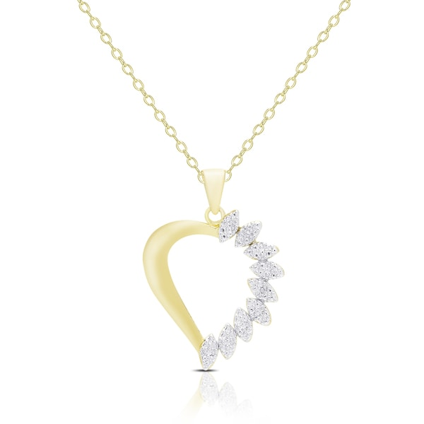 Finesque Gold Overlay Diamond Accent Heart Necklace