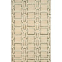 Hand-tufted Transitiona Geometric Viscose Silk/ Wool Rug (5' x 8') - 5' x 8'