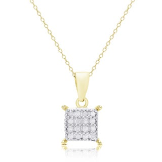 Finesque Sterling Silver or Gold Over Silver Diamond Accent Square Necklace
