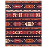 Reversible Anatolian Kilim Hand Woven Cotton Rug (8' x 10') - multi