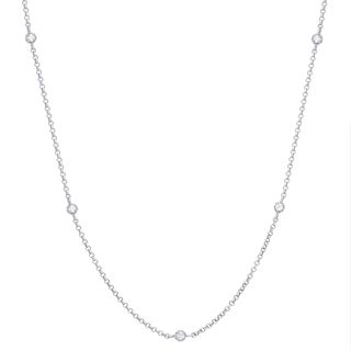 Finesque Gold Over Silver or Sterling Silver 1/2 ct TDW Diamond Necklace