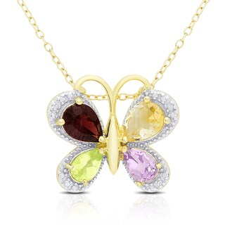 Dolce Giavonna Gold Over Silver Multi Gemstone and Diamond Accent Butterfly Necklace