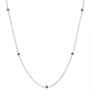 Finesque Sterling Silver 1/2 ct TDW Blue Diamond Necklace