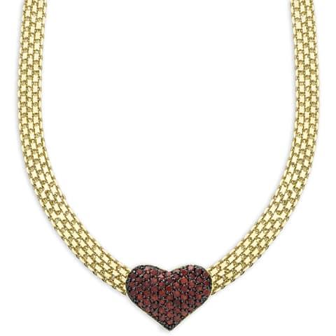 Dolce Giavonna Gold Overlay Garnet Heart Necklace