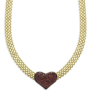 Dolce Giavonna Gold Overlay Garnet Heart Necklace