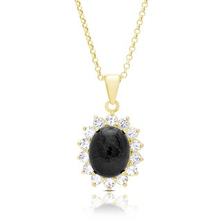 Dolce Giavonna Gold Over Silver Oval Sapphire Necklace