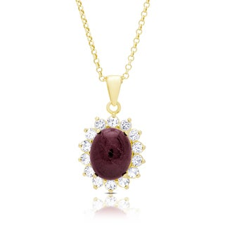 Dolce Giavonna Gold Over Silver Oval Ruby Necklace