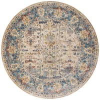 Traditional Sand/ Light Blue Floral Distressed Round Rug - 5'3 x 5'3
