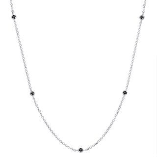 Finesque Sterling Silver 1/2 ct TDW Black Diamond Necklace