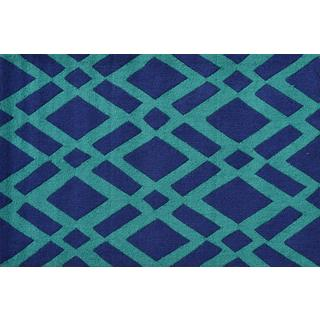 Hand-hooked Diamonds Green Polyester Area Rug (2'8 x 4'8)