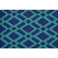 Hand-hooked Diamonds Green Polyester Area Rug - 2'8 x 4'4