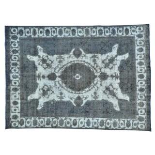 Silver Overdyed Persian Tabriz Barjasta Oriental Rug (8' x 11'3)