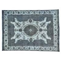 Silver Overdyed Persian Tabriz Barjasta Oriental Rug