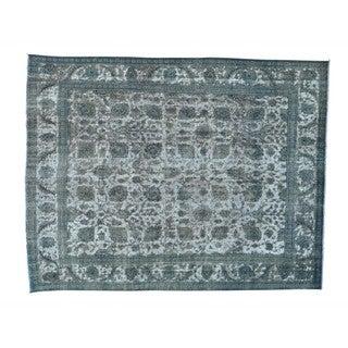 Silver Overdyed Persian Tabriz Barjasta Oriental Rug (10' x 12'7)