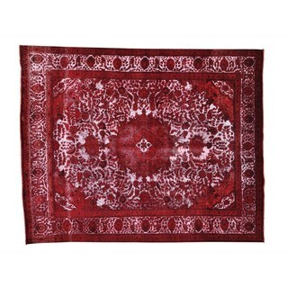 Red Overdyed Persian Tabriz Barjasta Oriental Rug (10' x 12'5)