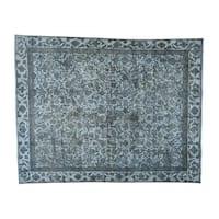 Overdyed Persian Tabriz Barjasta Handmade Oriental Rug