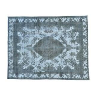 Handmade Silver Overdyed Persian Tabriz Barjasta Rug (9'8 x 12'2)