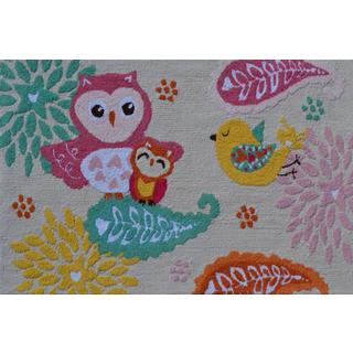 Hand-hooked Birds of a Feather Pink Polyester Area Rug (2'8 x 4'8)