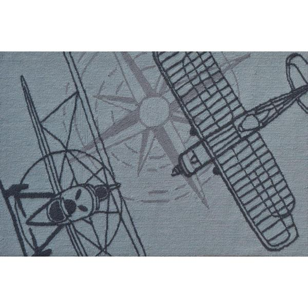 Hand Hooked Outline Plane Grey Polyester Area Rug 2 8 X 4