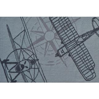 Hand-hooked Outline Plane Grey Polyester Area Rug (2'8 x 4'8)