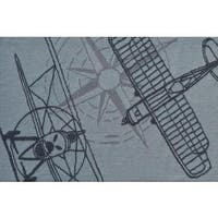 Hand-hooked Outline Plane Grey Polyester Area Rug - 2'8 x 4'4