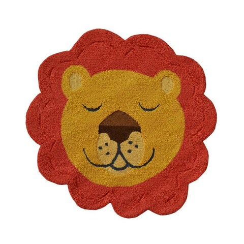 Hand-hooked Shaped Lion Face Orange Polyester Area Rug (3' x 3')