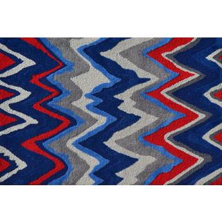 Hand-hooked Chevron Boy Blue Polyester Area Rug (2'8 x 4'8)