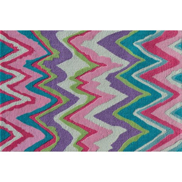 shop hand hooked chevron girl pink polyester area rug 2 39 8 x 4 39 4 free shipping today. Black Bedroom Furniture Sets. Home Design Ideas