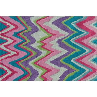 Hand-hooked Chevron Girl Pink Polyester Area Rug (2'8 x 4'8)