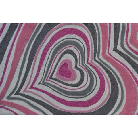 Hand-hooked Heart Stripe Blue Polyester Area Rug - 2'8 x 4'4
