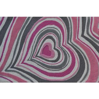 Hand-hooked Heart Stripe Blue Polyester Area Rug (2'8 x 4'8)