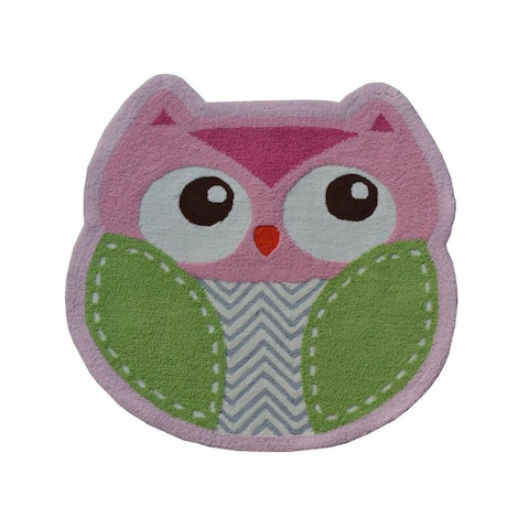 Hand-hooked Shaped Owl Pink Polyester Area Rug (3' x 3')