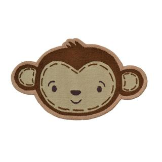 Hand-hooked Shaped Monkey Face Brown Polyester Area Rug (3' x 3')