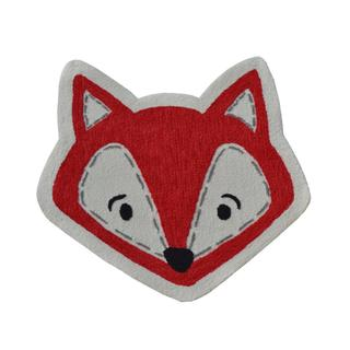 Hand-hooked Shaped Fox Face White Polyester Area Rug (3' x 3')