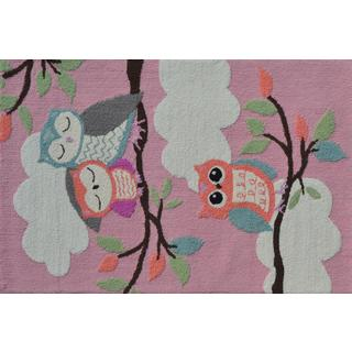 Hand-hooked Owl On a Limb Pink Polyester Area Rug (2'8 x 4'8)