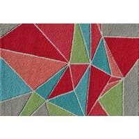 Hand-hooked Fragment Girl Multicolored Polyester Area Rug - Multi - 2'8 x 4'4